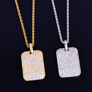 24k Gold .925 Silver Square Ice Hip Hop Pendant