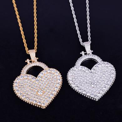 Micro Pave Lab Diamond Big Heart 14k Gold Silver Iced Pendant