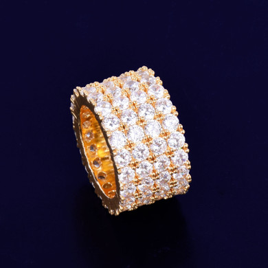 18k Gold Flooded Ice Four Row Solitaire Rings