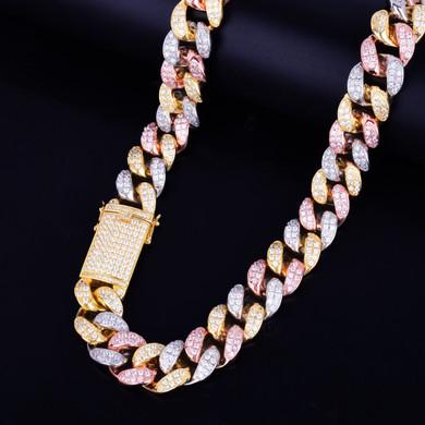 Tri Color Miami Cuban Link Chain