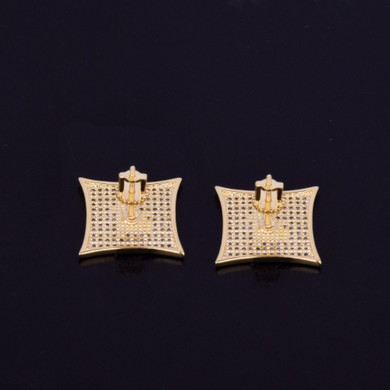 Micro Pave Spiritual Iced Allah 14k Gold Silver Arabic Letters Hip Hop Earrings