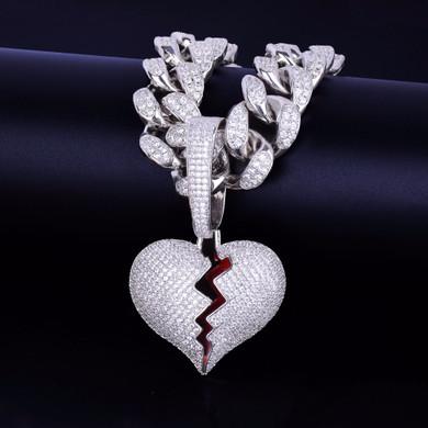 20MM Cuban Link 24k Gold Silver Broken Heart Pendant