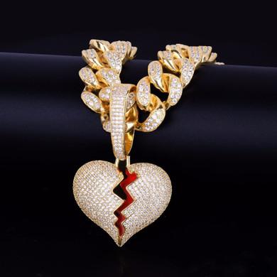 20MM Cuban Link 24k Gold Silver Broken Heart Pendant Hip Hop Chain Necklace