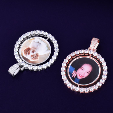 Custom Made AAA True Micro Pave Iced Photo Rotating Double-Sided Bling Pendant Chain Necklace