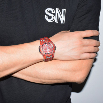 Red Lab Diamond Iced Faced Silver Stainless Steel Luxury Bling Wristwatch