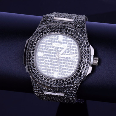 Black Lab Diamond Iced Faced Silver Stainless Steel Luxury Bling Wristwatch
