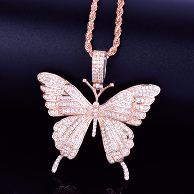 Rose Gold Micro Pave Beautiful Butterfly Chain Necklace