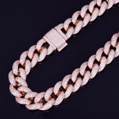 Miami Cuban Link 23mm 24k Gold Silver Rose Gold Hip Hop Chain Bracelet Set