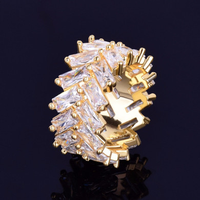 18k Gold 2 Row Baguette Iced Out Rings
