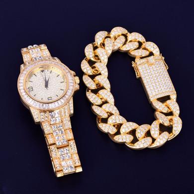 Lab Diamond Luxury Baguette 14k Gold Stainless Steel Bling Watch Cuban Link Bracelet Set