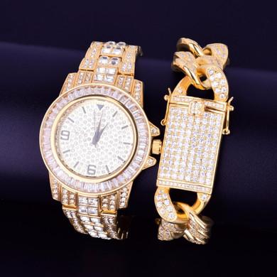 Lab Diamond Luxury Baguette 14k Gold Stainless Steel Bling Watch