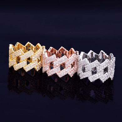 Hip Hop Cuban Link AAA Micro Pave 18k Gold Silver Rose Gold Micro Pave Ring