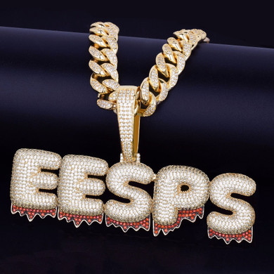 Cuban Link Custom Name Red Blood Drip Drop Bubble Letter Hip Hop Pendant