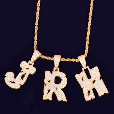 Hollow Letters Hip Hop Initial Pendant