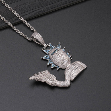 Iced AAA True Micro Pave  Gold Silver Morty Hip Hop Pendant Chain Necklace