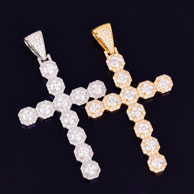 .925 Silver Cuban Cross Hip Hop Chain Necklace