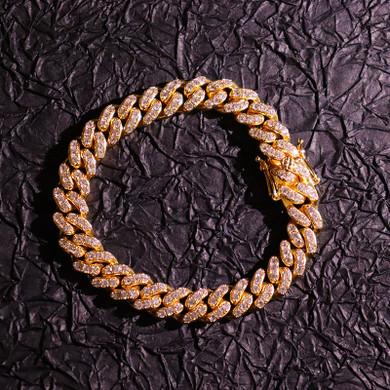 18k Gold AAA Prong Set Miami Cuban Link Bracelet