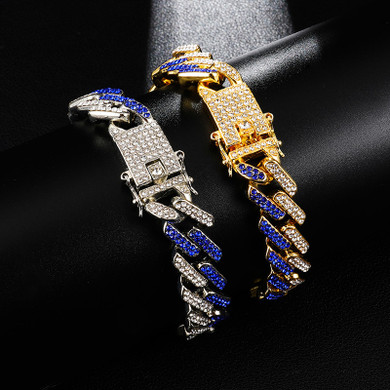 Hip Hop 15MM  Iced Full AAA Stone Designer Cuban Link Bracelet