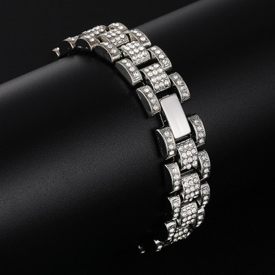 14k Gold Silver Full AAA Stone Watch Band Link Iced Hip Hop Chain Link Bracelets