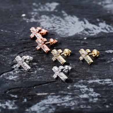 Hip Hop Simulated Diamond Holy Cross .925 Silver 14k Rose Gold Silver Bling Earrings