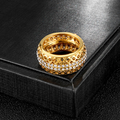 Hollowed Out Iced 14k Gold Stainless Steel AAA Pave Round Band Rings