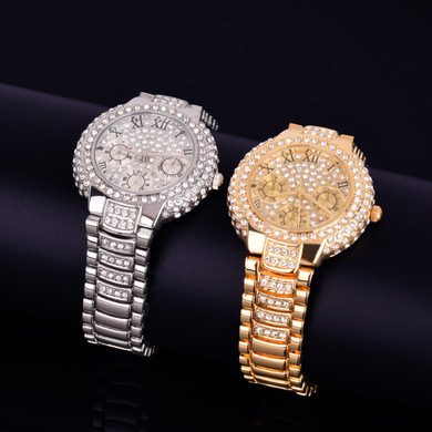 Ladies Small Dial Bling 14k Gold Stainless Steel Bezel Boss Lady Bling Wrist Watch