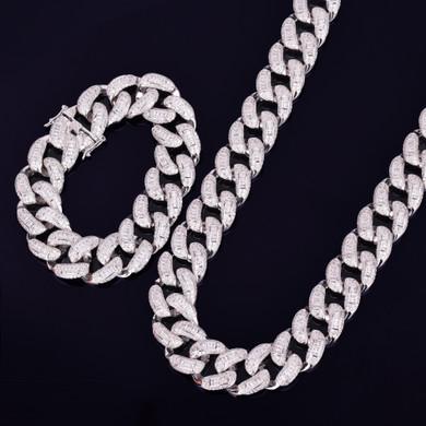 24k Gold Baguette 3AAA Miami Cuban Link Chain Bracelet Hip Hop Jewelry Set