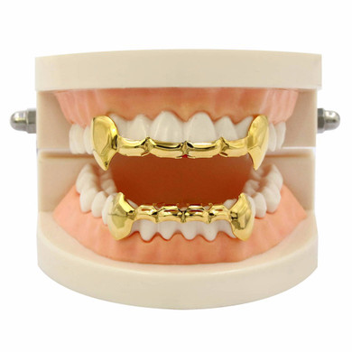 Half Teeth Gold Silver Rose Gunmetal Fang Slim Grillz Top Bottom Set