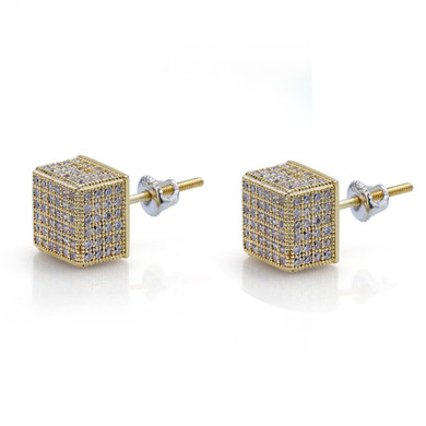 14k Gold Silver Flooded Ice AAA Micro Pave 8mm Square Stud Hip Hop Earrings