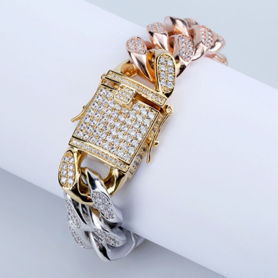 18mm New Style Men's Gold Silver Rose Gold Tricolor Flooded Ice AAA Micro Pave Bracelet