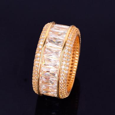 18k Gold Handset Baguette Stone Flooded Ice Rings