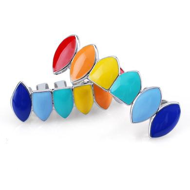 Hip Hop Gold Silver Rainbow Teeth Grillz Top Bottom Colorful Grills Set