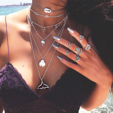 Mermaid Tail Sea Shell Coconut Tree Crystal Multilayer Silver Chain Necklace