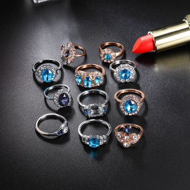 11 Piece Delicate Luxury Women Blue Crystal Water Drop Flower Ring Jewelry Set