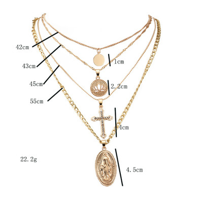 Womens Crystal Cross Lotus Virgin Mary Multilayer Gold Pendant Clavicle Chain Choker Necklace Set