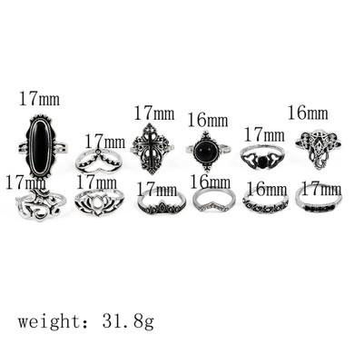 Ladies 12 Piece Big Gem Cross Lotus Elephant Heart Silver Ring Jewelry Set