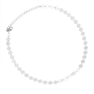 Ladies Boho Fatima Palm Peace Symbol Arrow Round Silver Clavicle Necklace