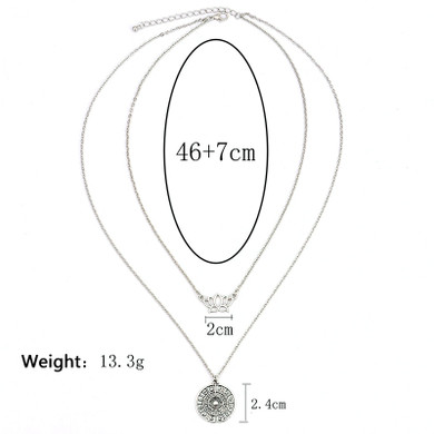 Ladies Bohemian Lotus Compass Silver Multilayer  Retro Chain Long Necklace