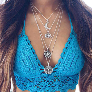 Ladies Retro Engraved Elephant Moon Om Compass Multilayer Chain Necklace
