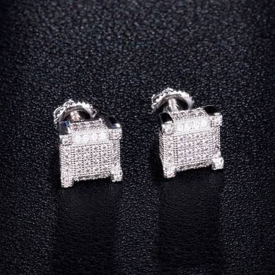 AAA Micro Pave Flooded Ice Square Cut Hip Hop Earrings