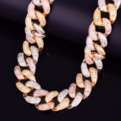 24k Gold .925 Silver Rose Gold Tri-Color Baguette Miami Cuban Link 22mm Floded Ice Chain Necklace