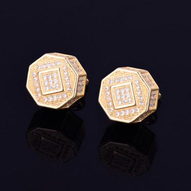 11MM AAA True Micro Pave Octagon 18k Gold .925 Silver Screw Back Big Boy Earrings