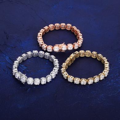 Rose Gold Silver 14k Gold AAA Big Cluster Lab Cultured Hip Hop 1 Row Bracelet