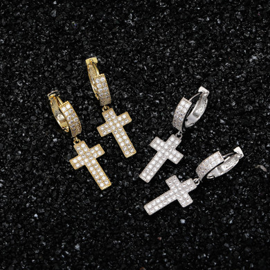 Bling True AAA Micro Pave Stone Cross Crucifix Hip Hop Earrings