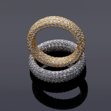 14k Yellow Rose Gold Over 925 Sterling Silver Flooded Ice Solid Thick Circle Iced Rings