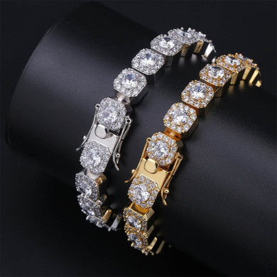 10mm 14k Gold .925 Silver Micro Pave Ultra Ice Square AAA Micro Pave Tennis Bracelet