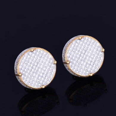 18k Gold 14mm AAA Micro Pave Screw Back Hip Hop Earrings