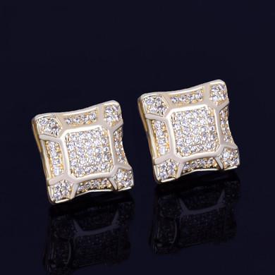 11MM 14k Gold Silver Cracked Square Men's Stud Big Boy Bling Screw Back Earrings