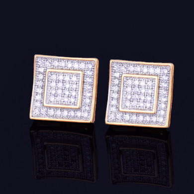 11MM 14k Gold Silver Double Square Big Boy Flooded Ice Stud Screw Back