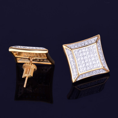 15MM Big Boy Square 14k Gold Silver Flooded Ice Hip Hop Stud Earrings